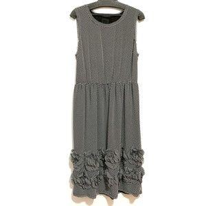 Anna Sui Diagonal Stripe 3D Floral Dress
